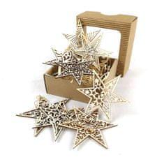 AMADEA Vánoční set dřevěných ozdob - hvězdy 8 druhů + krabička