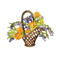 AMADEA Dřevěná dekorace barevná koš s květinami 22 cm
