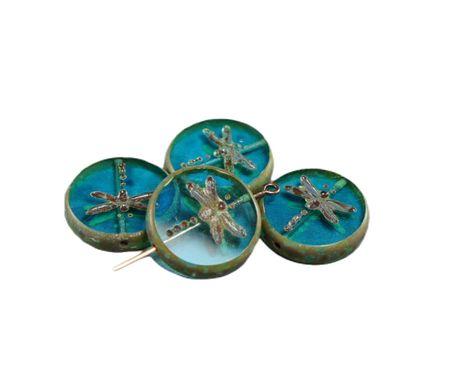 Kraftika Picasso aqua aquamarine kék barna rusztikus ablak szitakötő
