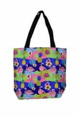 GOLDSUN Dámska plážová taška Plameniak, ananás a kvety farebná