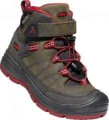 KEEN dětská kožená kotníčková obuv REDWOOD MID WP Y steel grey/red dahlia
