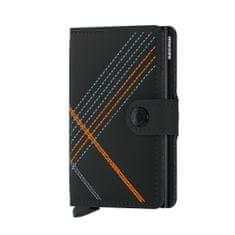 Secrid Černá kožená peněženka SECRID Miniwallet Stitch Linea MSt-Linea Orange SECRID