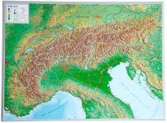 Georelief Alpy - plastická nástěnná mapa