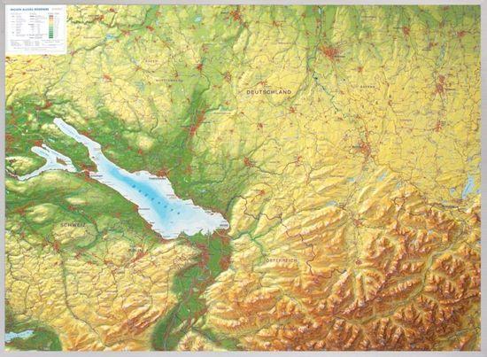 Georelief Allgäu, Bodamské jezero - plastická nástěnná mapa, dřevěný rám Pinos - přírodní