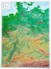 Georelief Německo - plastická nástěnná mapa