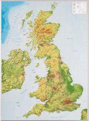 Georelief Velká Británie - plastická nástěnná mapa