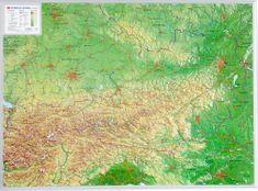 Georelief Rakousko - plastická nástěnná mapa