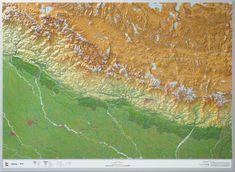 Georelief Nepál - plastická nástěnná mapa