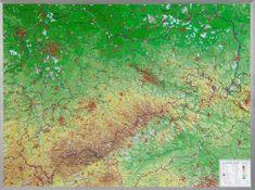 Georelief Krušné hory, Sasko, Lužická jezera - plastická nástěnná mapa