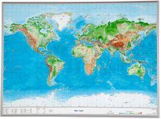 Georelief Svět - plastická nástěnná mapa