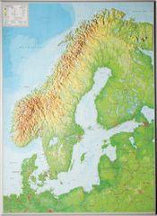 Georelief Skandinávie - plastická nástěnná mapa