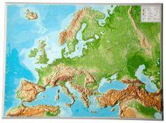 Georelief Evropa - plastická nástěnná mapa