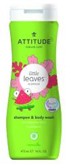 Attitude Dječji sapun za tijelo i šampon (2 u 1) Little leaves, s mirisom lubenice i kokosa, 473 ml