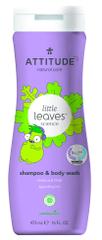 Attitude Dječji sapun za tijelo i šampon (2 u 1) Little leaves, s mirisom vanilije i kruške, 473 ml