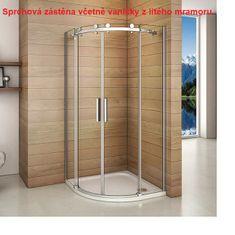 H K Štvrťkruhový sprchovací kút DIAMOND S4 90 cm s dvojdielnymi posuvnými dverami L/P variant vrátane sprchovej vaničky z liateho mramoru