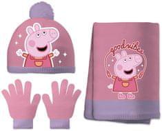 Disney dívčí set čepice, šála, rukavice Peppa pig