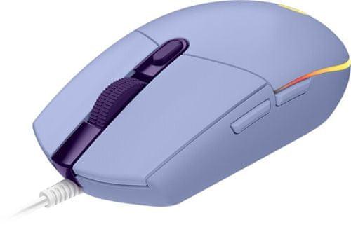 Herná myš Logitech G102 Lightsync, fialová (910-005854) káblová 16 000 DPI rýchle nabíjanie