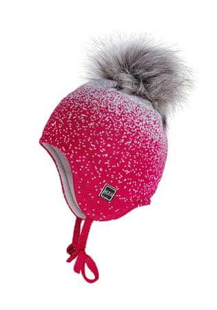 Maximo dekliška pletena kapa s cofom in zavezovanjem, 51, roza
