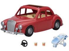 Sylvanian Families obiteljski putnički automobil s kolicima i autosjedalicom, crven