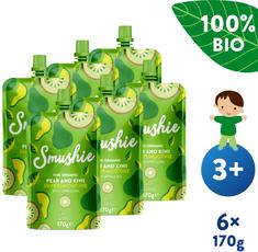 Salvest Smushie BIO Ovocné smoothie s hruškou, kivi a spirulinou (6x 170 g)