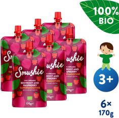 Salvest Smushie BIO Ovocné smoothie s červenou repou, malinami a konopnými semienkami (6x 170 g)