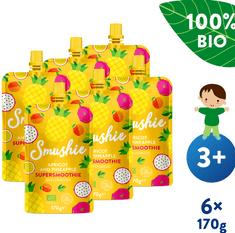 Salvest Smushie BIO Ovocné smoothie s marhuľou, ananásom a ľanovými semienkami (6x 170 g)