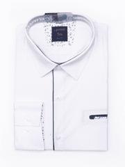 Laviino ItalyStyle Bílá pánská košile s dlouhým rukávem TSM-13B slim fit Velikost: EU 38/39