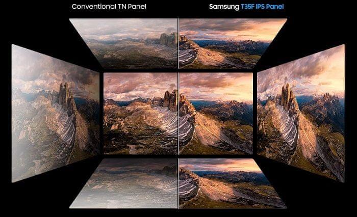 monitor Samsung T35F (LF24T350FHUXEN) IPS panel kvalita obrazu realistické barvy pozorovací úhly