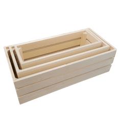 AMADEA Dřevěné bedýnky - sada 3 bedýnek z masivního dřeva, 50x15x24 cm