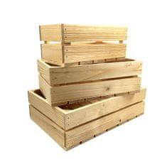AMADEA Dřevěné bedýnky - sada 3 bedýnek z masivního dřeva, 40x27x12 cm