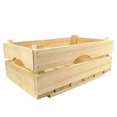AMADEA Dřevěná bedýnka z masivního dřeva, 34x20x14 cm