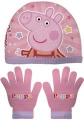Disney komplet dziewczęcy czapka i rękawiczki Świnka Peppa