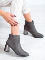 Designové kotníčkové boty dámské šedo-stříbrné na širokém podpatku