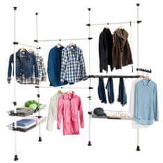 SoBuy FRG38 Úložný systém na oblečení Policový systém se 4 tyčemi na oblečení a 3 koši