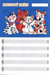Notový sešit (obrázek: kočičky,16str.) širší linky