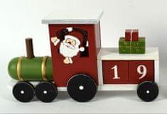 DUE ESSE Vianočný drevený vláčik so Santom 18 cm, adventný kalendár