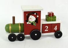 DUE ESSE Vianočný drevený vláčik so snehuliakom 18 cm, adventný kalendár