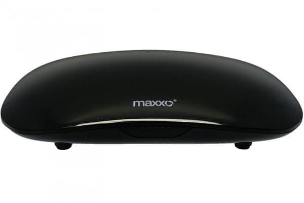 moderní multimediální centrum maxxo dvb-t2 android box os android usb porty wifi připojení lan 4k ultrahd rozlišení hdmi výstup dálkový ovladač air mouse qwerty klávesnice 4jádrový procesor 16gb vnitřní paměť 2gb ram operační paměť