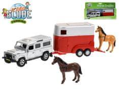 Mikro Trading Auto Land Rover Defender kov 14cm s přívěsem pro koně 11cm na zpětné natažení - mix barev