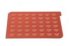 Silikomart Silikonová podložka na pečení Makronek ve tvaru srdce Silikomart Heart Terracotta