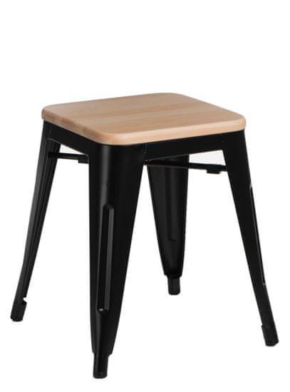 shumee Paris Dřevěná stolička černá přírodní borovice