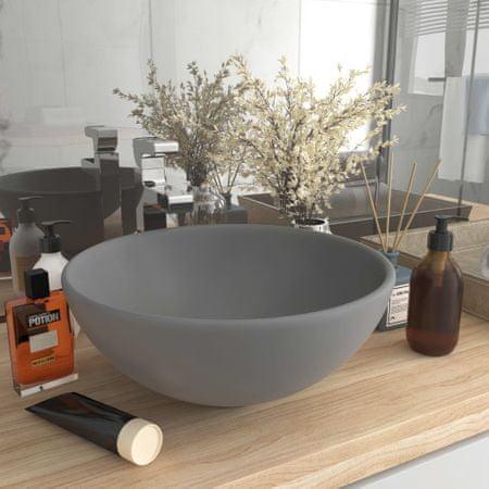shumee Okrągła umywalka łazienkowa, matowa jasnoszara, 32,5 x 14 cm