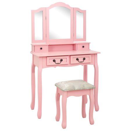 shumee rózsaszín császárfa fésülködőasztal-szett ülőkével 80x69x141 cm