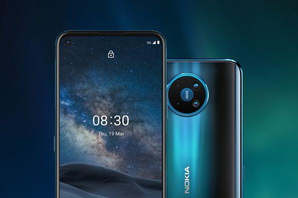 moderní mobilní dotykový telefon smartphone Nokia 8.3 android operační systém 64mpx zadní kamera 24mpx přední kamera vynikající fotografie baterie 4500 mah 8gb oprerační paměť 128gb vnitřní paměť dual sim microsdxc karty 5g připojení wifi Bluetooth 5.0