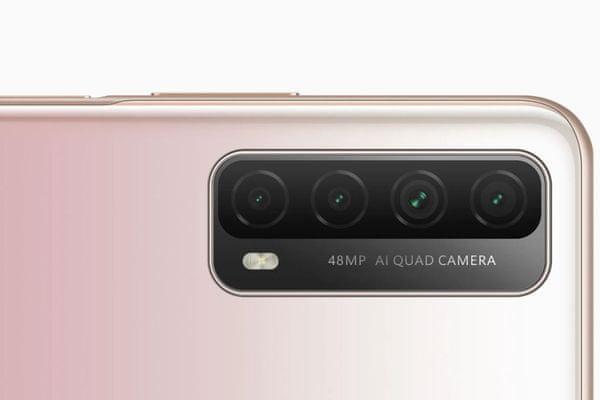 moderný mobilný dotykový telefón smartphone huawei p smart 2021 8jadrový procesor 128 gb vnútorná pamäť 4 gb ram 4kamerový fotoaparát 48 mpx 8 mpx 2 mpx 2 mpx predná 8 mpx kamera emui operačný systém ultraširokouhlý objektív