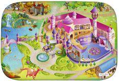 Achoka HOUSE OF KIDS Dětský hrací koberec Zámek princezna 3D Ultra Soft 100x150 zelenorůžový