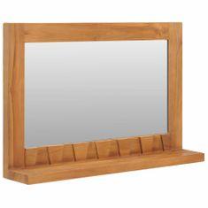 shumee Nástěnné zrcadlo s policí 60 x 12 x 40 cm masivní teakové dřevo