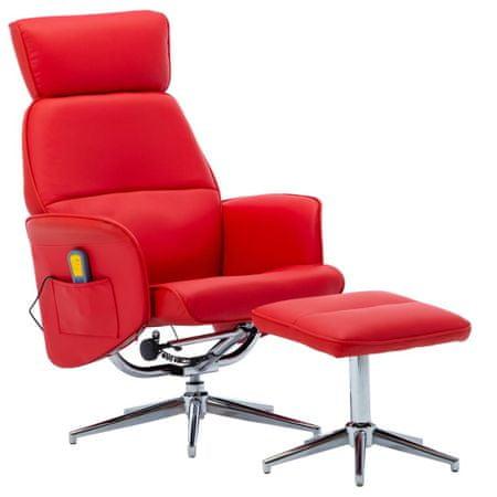 shumee Masažni stol s stolčkom za noge rdeče umetno usnje