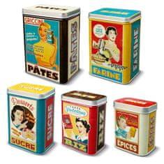 "Natives , Vintage, Dózy na potraviny sada 5ks ""Housewives"" 12.5x9x17.5 / 11x7.5x16 /9.5x6.5x14.5 / 9x6x12 /, plech, 211156"