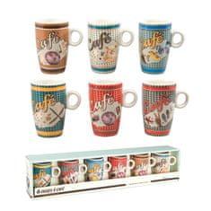 "Natives , Vintage, Šálky kávové Espresso sada 6ks ""Rébus"" 5,7x9 cm - 13 cl, porcelán, 512560"
